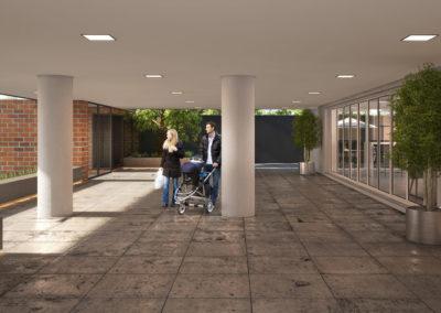 Hall junto ao acesso de pedestres